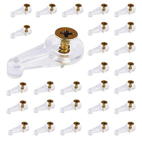 60 clips de sujeción de cristal Yutou transparentes de plástico con 60 tornillos, accesorios para ventanas, vitrinas, espejos de baño, armarios de vino