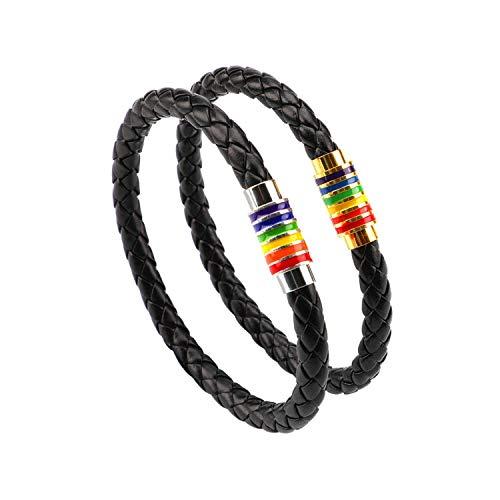 PHOGARY Gay Pride Armband LGBT Regenbogen Armband (2 Stück), Paar Schwarz Leder Armband Herren Damen Armband mit Regenbogen gestreift Edelstahl Magnetverschluss 22cm