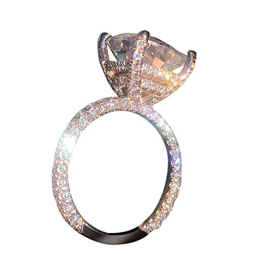 Xinantime Bright Zirconia Rings for Women Unique Three Sides Crystal Wedding Luxury Ring (7, Rose Gold)