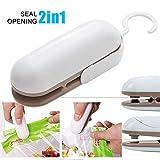 YST - Mini sigillante per sacchetti, sigillante a mano, mini saldatore a pellicola bianco e marrone.