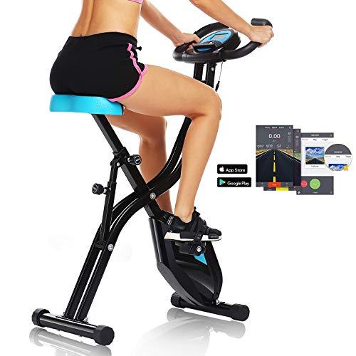 ANCHEER APP Control Klapp-Heimtrainer, Indoor-Heimtrainer mit 10-stufig einstellbarem Magnetwiderstand und bequemem Sitz für Heimgymnastik und Cardio-Fitness