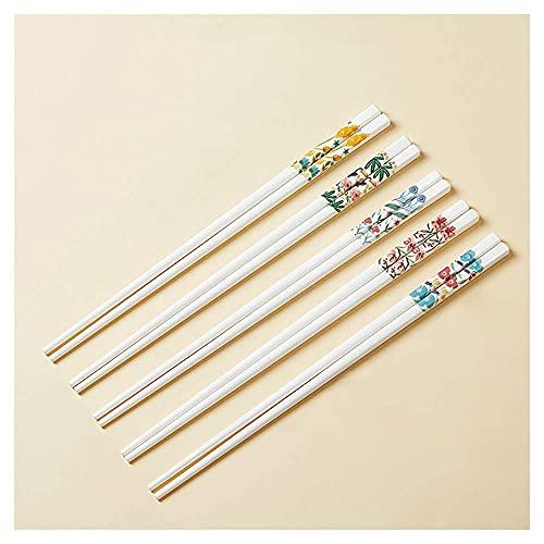 5 pares de palillos de porcelana reutilizables, hueso antideslizante China Chopsticks Conjunto de regalo para los fideos de sushi Rice Hot Pot Hot-Garde Asiático Vajilla China Chopsticks A kit cocina