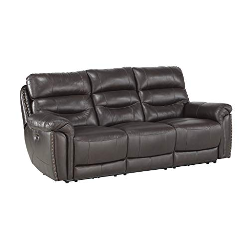 """Homelegance 87"""" Power Double Reclining Sofa, Brown"""