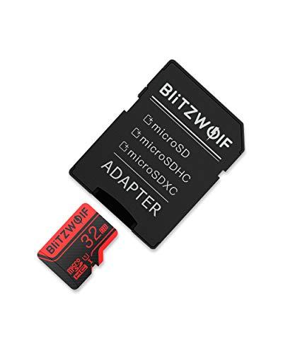 BlitzWolf Scheda microSD, 32GB Memory Card con Adattatore SD, Classe 10, UHS-3, Scheda Memorie TF, Velocità di Lettura 30MB/s, Adatto per Tablet, PC, Smartphone, Fotografica (32GB)