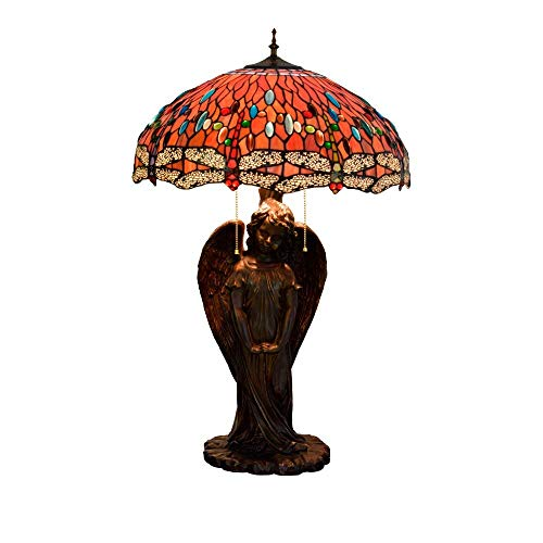 PYROJEWEL modern Dragonfly Red Glass Angel Art Stained Desk Lamp for Living from vintage bedside lamp Room Indoor Table Lamps