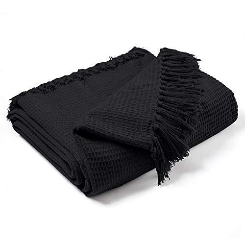 EHC Tagesdecke/Überwurf, 179x 254cm, 100prozent Baumwolle, Waffelmuster, schwarz, Doppelbett