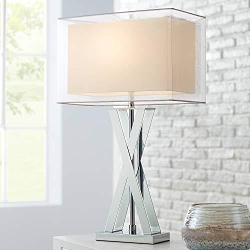 Proxima Modern Table Lamp Chrome Metal X-Shaped Base Rectangular Double Shade for Living Room Family Bedroom Bedside - Possini Euro Design