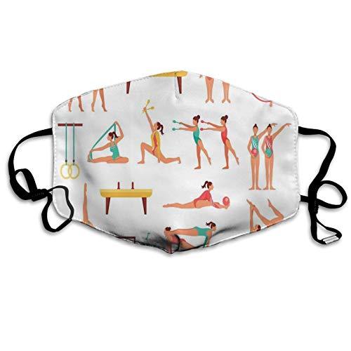 FULIYA 2021 Mundschutz Atmungsaktive Gesichtsmundabdeckung Staubdichter,Pommel Horse Maces and Ribbons Athlete Figures Performing Acrobatics Pattern,Gesichtsdekorationen