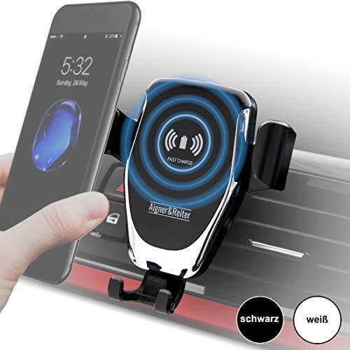 Telefoonhouder voor de auto met draadloze oplader, draadloze car mount lader, inductie oplader voor alle iPhone, Samsung Galaxy, Huawei, LG met Qi standaard zwart