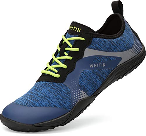 WHITIN Herren Barfussschuhe Traillaufschuh Barfuss Schuhe Barfußschuhe Barfuß Barfußschuh Minimalistische Zehenschuhe Trekkingschuhe Laufschuhe für Männer Neoprenschuhe Fitness Blau Größe 43 EU