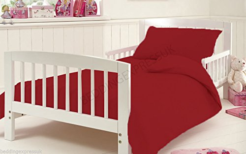 Duvet Covet Set for Cot Bed Toddler Baby Bed Egyptian Cotton 200 Tread Count 120 x 140 cm Approximately, Red