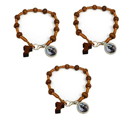 DELL'ARTE Artículos Religiosi - Pulsera rosario de madera y cuerda con medalla de San Francisco SRL