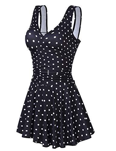 Clearlove Badeanzug Damen Push Up UV Frauen Rückenfrei Strand Bademode Schulterfrei Vintage Große Größen