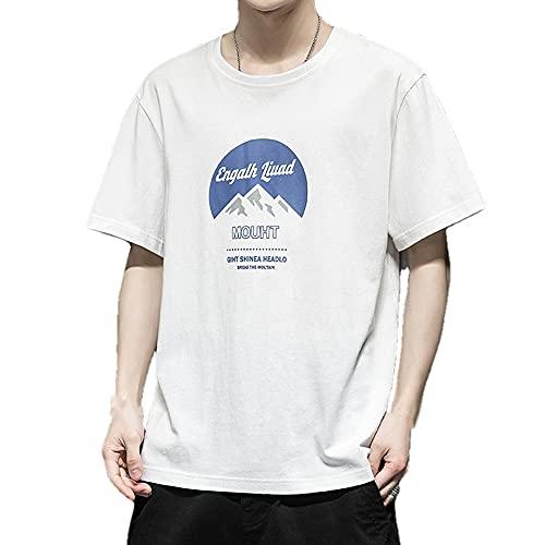 N\P Hombres de manga corta de verano coreano suelta camiseta casual, Blanco 8, 3XL