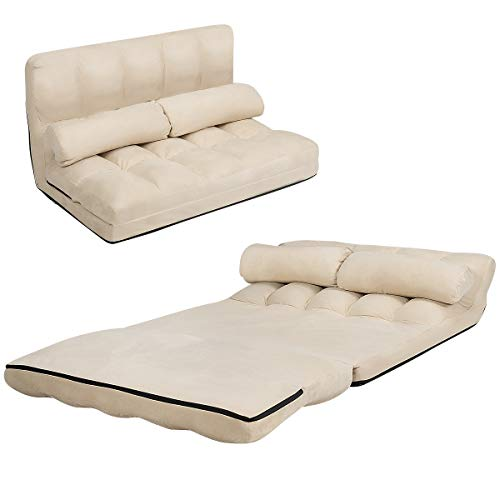 COSTWAY Double Folding Sofa Bed, 6-Position Adjustable Lounger Sleeper Seat Chair with 2 Pillows, Home Office Living Room Bedroom Floor Lazy Sofa Bed (Beige)