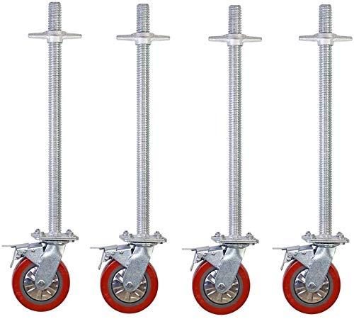 WaiMin Industrie-Rollen (4 Stück) Gerüste Rad 60CM extra lang mit Schraub- Abhubeinstellung Universalrad Bremsrad caster Zubehör (Color : B)