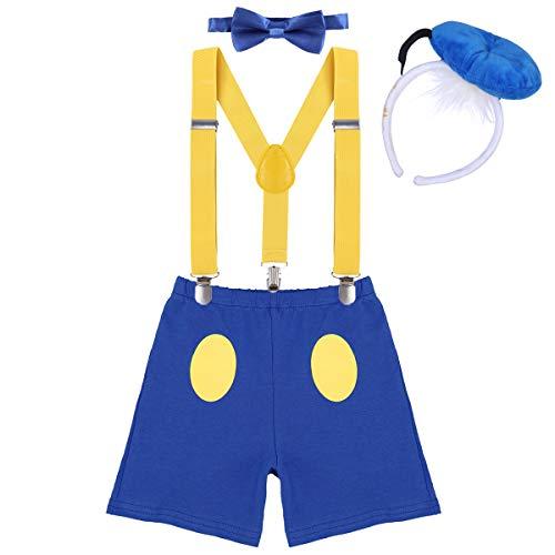 IWEMEK Baby 1. / 2./ 3. Geburtstag Kostüm Jungen Mädchen Donald Duck Karneval Cospaly Outfit Hosenträger Hosen mit Fliege Stirnband 3pcs / 4pcs Bekleidungssets Fotoshooting Cartoon 03 2-3 Jahre