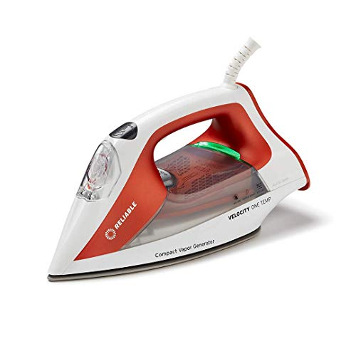 Reliable Velocity 160IR Steam Iron - One-Temperature Compact Vapor Generator Steam Iron for Clothes, Anti Shine Coated Ceramic Soleplate, Continuous Steam with Auto Shut Off Iron for Clothes