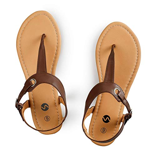 Rekayla Flat Thong Sandals with T-Strap and Adjustable Ankle Buckle for Women BROWN 08