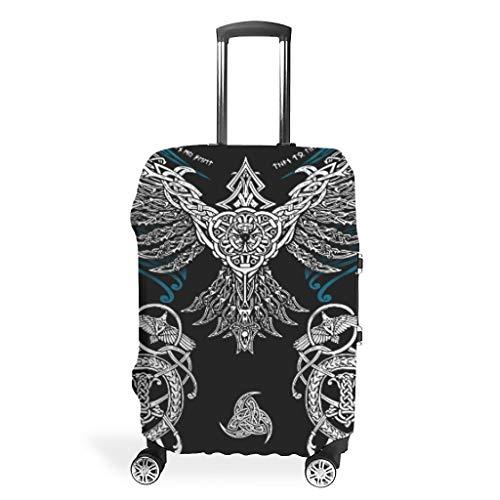 Ravens in Mitology, Viking, Huginn y Muninn, Odin Travel Maleta Protector lavable de Spandex Maleta, White (Blanco) - Muerlinanajj768