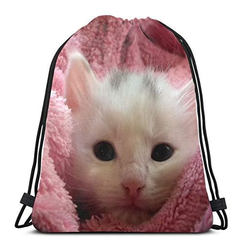N/B Gatito-Fluffy-Gato Lindo Mujer Niña Arte Cordón Mochila Bolsa de Viga Boca Gimnasio Bolsa de Hombro Para Hombres y Mujeres