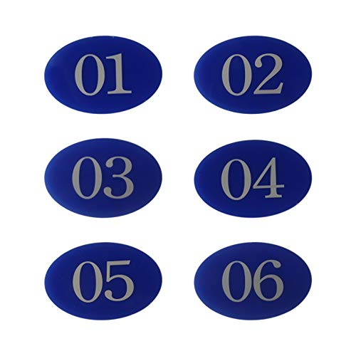 Letrero para puerta con número de casillero, con cinta autoadhesiva, color azul, 01-50