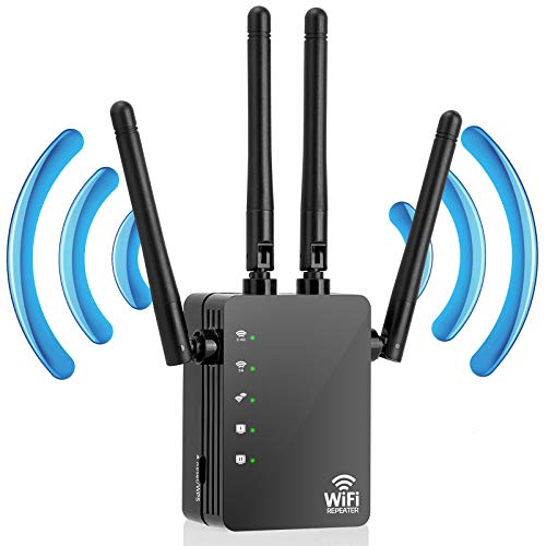 WiFi Extender,Wireless Range Extender,1200Mbps | 2.4GHz and 5.0GHz Dual Band WiFi Repeater Wireless Signal Booster, WiFi Booster for The House 360 Degree Full Coverage Network (Black)