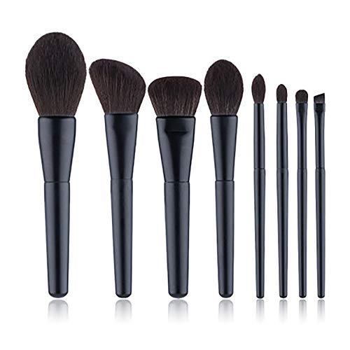 Pinceau de maquillage Set 8 Pcs Professional Cosmetics Brosses Matte poignée noire Maquillage brosse Microfibre cheveux outil de maquillage de brosse,Noir