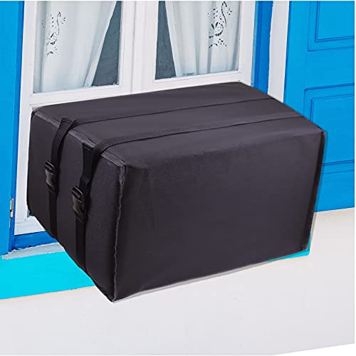 """yhslmh Air Conditioner Covers for Window Units, Outdoor Window Air Conditioner Cover for Outside, Rectangle Ac Defender Cover for Winter Exterior, AC Protection Cover (Black, 27.5"""" Wx 25"""" D x 19"""" H)"""