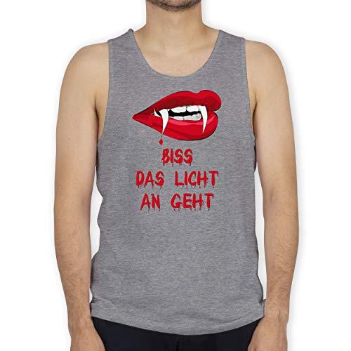 Shirtracer Halloween - Biss das Licht an geht Vampir - L - Grau meliert - Biss - BCTM072 - Tanktop Herren und Tank-Top Männer