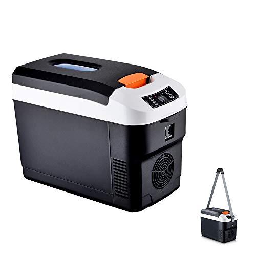 YUTGMasst Mini Refrigerador/Frigorífico Coche, 10L Electrica Nevera, Mudo,LCD,Pequeño Congelador Portátil,Refrigerador De Viaje Al Aire Libre(12V/110~240V),Negro,LCD