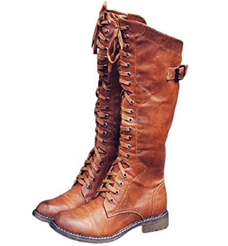 SO SIMPOK Women's Round Toe Lace Up Knee High Riding Boots Low Heel Criss Cross Combat Boots Brown