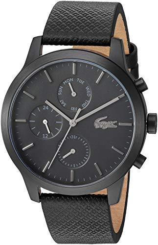 Lacoste 2010997 - Reloj de cuarzo con correa de piel, color negro, 19 (modelo: 2010997)
