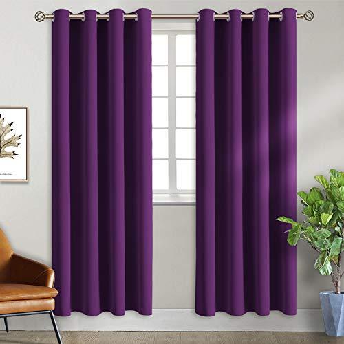 BGment Ösenvorhang Violett Thermovorhang blickdichte Gardine,228 x 117 cm (H x B),2er-Set,Verdunkelungsvorhänge...