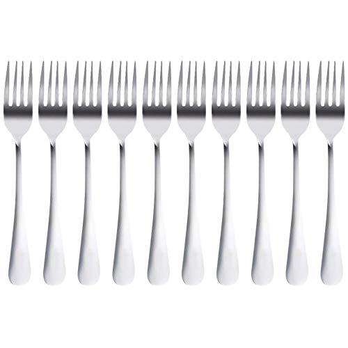 OVBBESS 10 tenedores de acero para mesa de comedor, ensalada de frutas, filete, 18,5 cm de longitud total