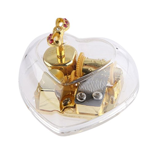 PATPAT® Acrylic Heart Bowknot Clockwork Music Box Melody Box Happy Birthday to You