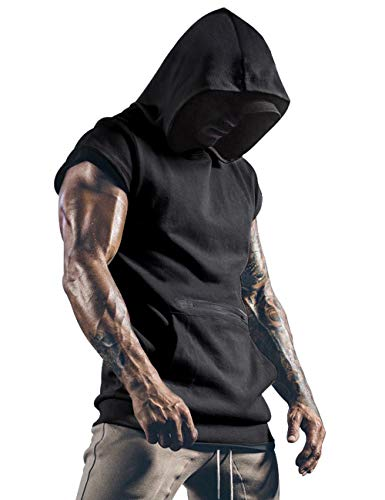 Lomon Herren Tank Top Ärmelloser Workout Sport Fitness Hoodie Muskelshirt für Gym Training Workout Bodybuilding Unterhemden Schwarz M