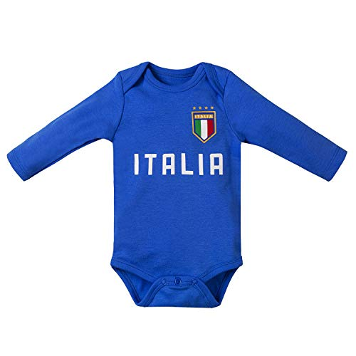 Unisex Infant Italy Soccer Onesies Toddler Clothing Baby Romper Boys Girls Unique Soccer Bodysuits Onesie Long Sleeve (ITL-blue, 6-12 Months)