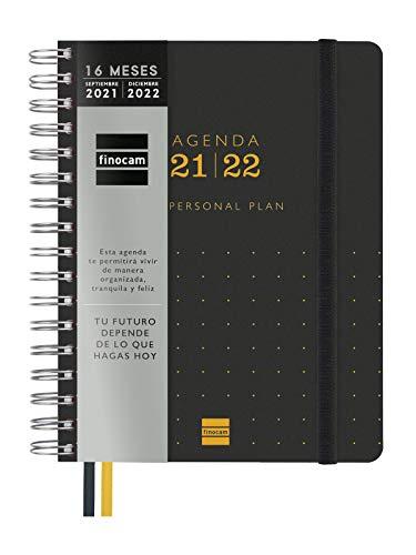 Finocam 626600122- Agenda Tempus 16 meses 2021 2022 4º - 155x217 Semana Vista Vertical Negro Español con planificación anual y mensual
