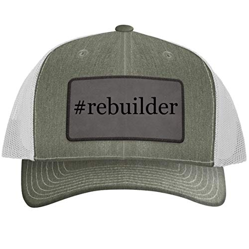 #Rebuilder - Leather Hashtag Grey Patch Engraved Trucker Hat, Heather-White, One Size