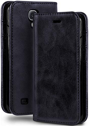 moex Booklet in Lederoptik - Kartenfächer und Aufstellfunktion passgenau für Samsung Galaxy S4   Eleganter 360 Grad Vollschutz, Dunkel-Blau
