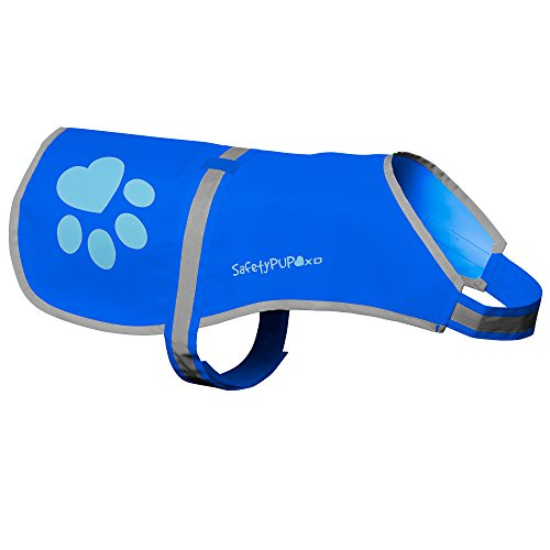SafetyPUP XD - Protect Your Best Friend. Hi-Vis Fluorescent, Reflective Dog Vest Provides Crucial Visibility Helping You Safeguard Your Pet from Cars & Rural Accidents, On or Off Leash (XL, Blue)