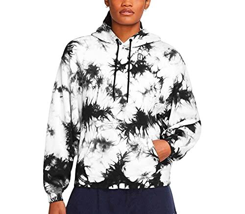 NIKE W Nkct Heritage Hoodie Dye Top, Negro/Blanco, Large para Mujer