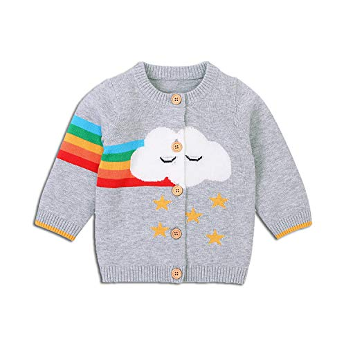 hunmansaf Baby Autumn Sweater, Long-Sleeves Sweater Cardigan with Rainbow Cloud Star Patterns Toddler Sweaters Coat Jacket for 0-18 Months Boys Girls (Grey, 0-3 Months)