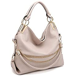 Beige With Rhinestone & Chain Top Handle Shoulder Bag