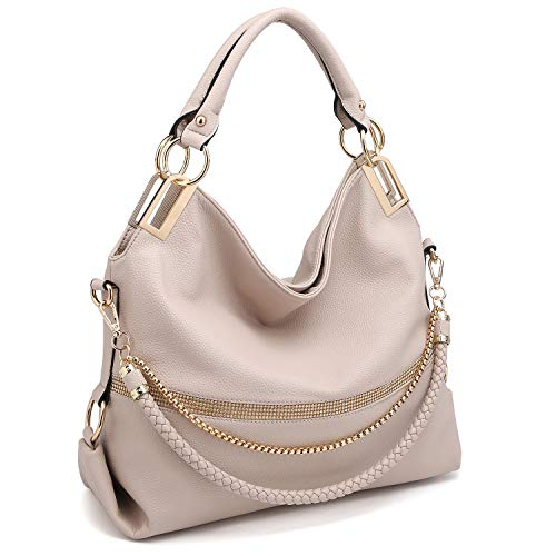 "MATERIAL: Soft pebbled vegan leather (PU) with gold tone shiny hardware and front rhinestone accents. 100% eco-friendly. No animals were harmed. DIMENSIONS: Top zip closure. 17""W x 12.5""H x 6""D. Handle drop length: 8"". Bonus shoulder strap (removable..."