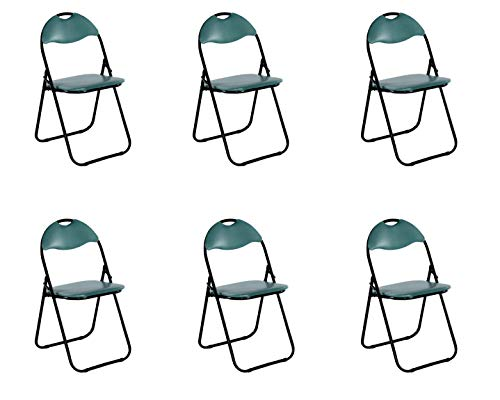 Colourliving Keukenstoel, 6-delige set, klapstoel, logeerstoel, tuinstoel, metaal in zwart gevoerde zitting en rugleuning in groen