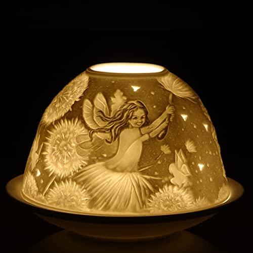 Nordic Light Kerzenschirm | Fee und Blume Teelichthalter | Kerzenteller | Spitzen-Geschenkidee | Kerzenzubehör, Weiß Gemustert, Einheitsgröße
