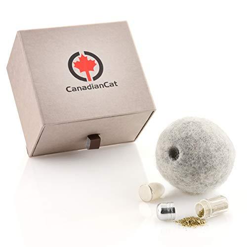 CanadianCat Company ® | gefilzter Wollball mit verschließbarem Duftfach für Katzen mit Katzenminze Filzball