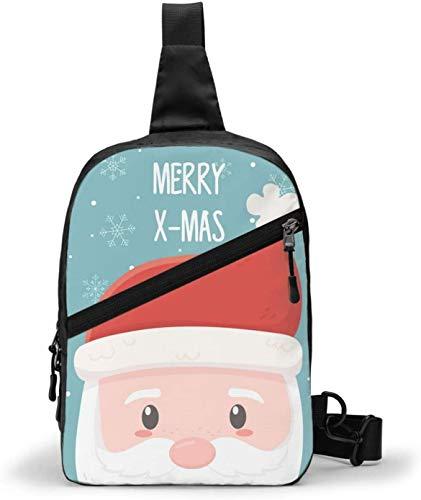 Santa Happy Christmas Sling Bag - Bolsa de hombro cruzada para senderismo, viajes, bolsa de bolsillo personal para mujeres, hombres, resistencia al agua
